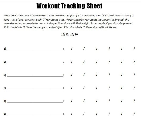 Workout Track Sheet Sample Photo