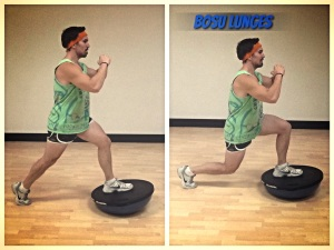 Stationary BOSU Lunges