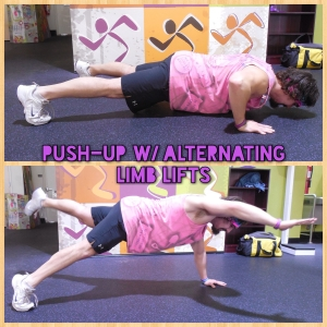 Push-Up w- Alternating Limb Lifts