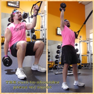 TRX Curl to Shoulder Press with Squat