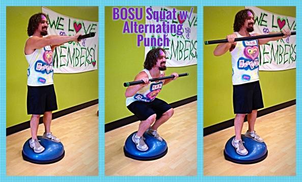 BOSU Squat w. Alternating Barbell Punch