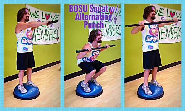 BOSU Squat w. Alternating Barbell Punch