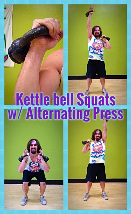 Kettlebell Squats w. Alternating Press