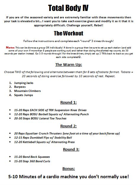 Click on the photo to download the workout, exercise reference guide, and workout tracking sheet! Download it to your phone or print it from your office or home!